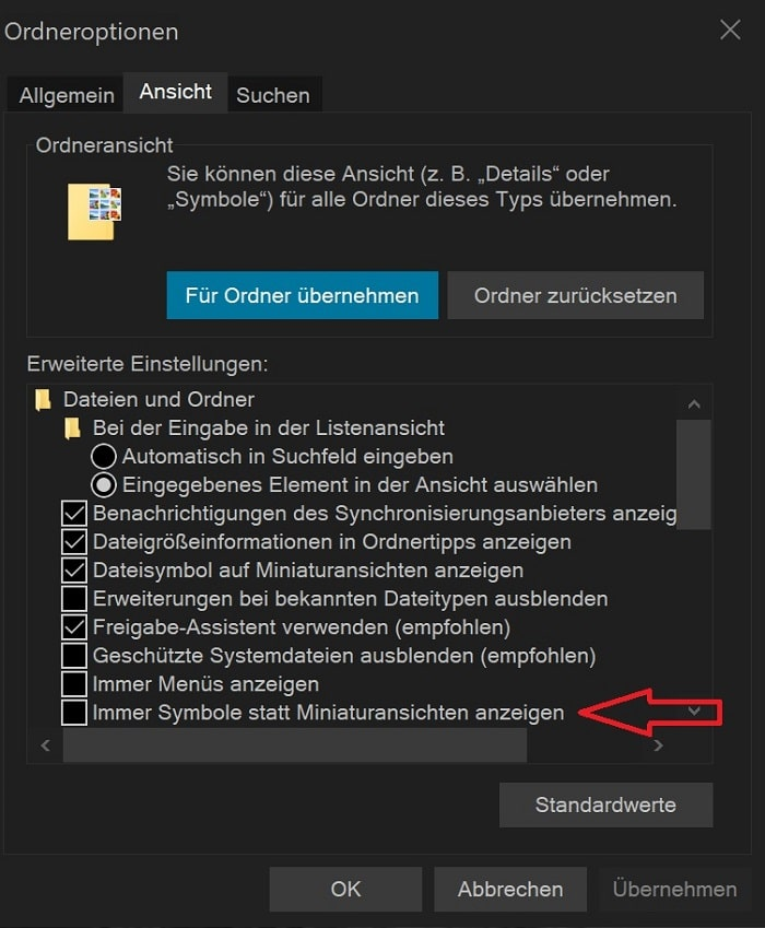 Windows 10 Vorschau der Bilder fehlt Datei Explorer Ordner