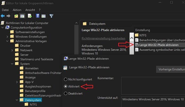 windows 10 creators dateipfad zu lang zeichenfolge 255 gruppenrichtlinie fehler beheben