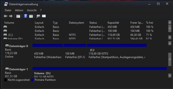 partitionen erstellen windows 10