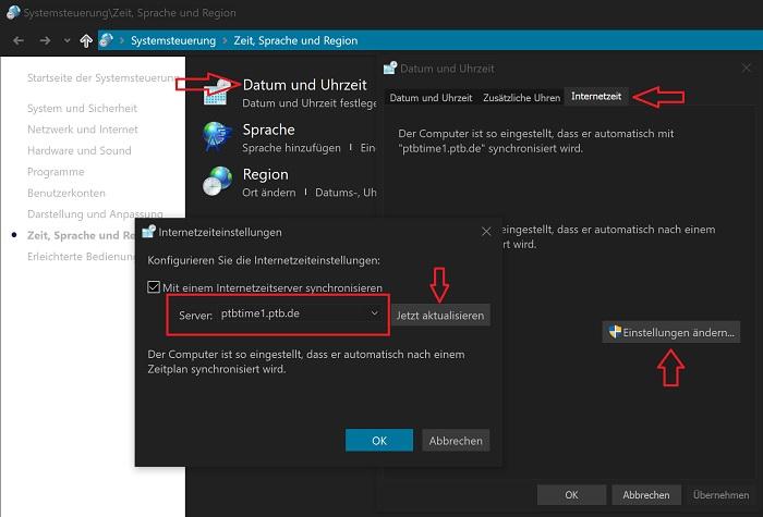 windows 10 deutschen server zeit-synchronisation nutzen atomuhr ptb