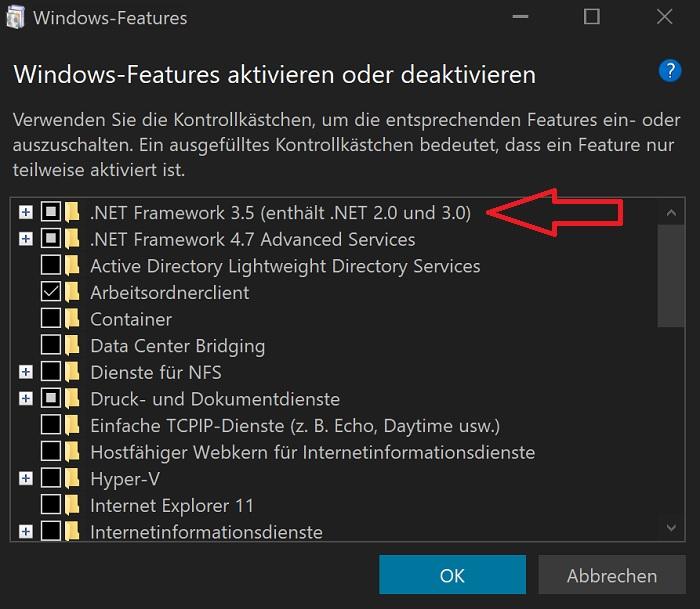 windows 10 net-framework installation fehler bug installieren anleitung tutorial