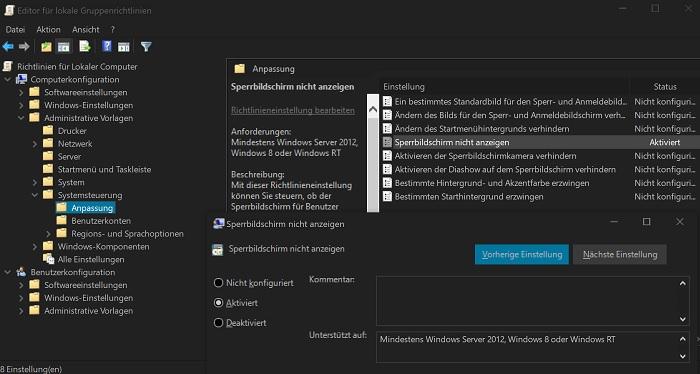 windows 10 sperrbildschirm creators anniversary update entfernen deaktivieren gruppenrichlinien