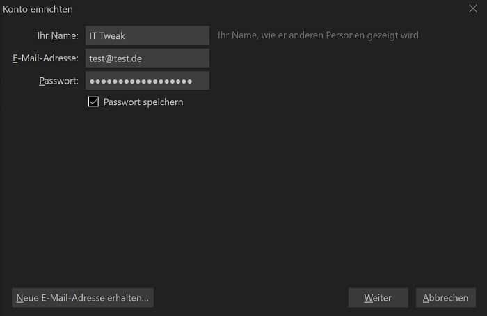 thunderbird e-mail client einrichten postfach erstellen installation