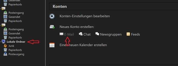 thunderbird e-mail-client einrichten postfach erstellen