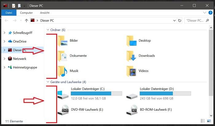 windows 10 dieser pc datei-explorer weisser bereich fall creators update entfernen