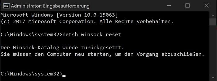 windows 10 netzwerk-verbindung fehler beheben winsock reset