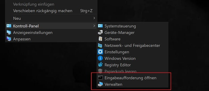 windows 10 kontroll panel kontext menue erstellen anpassen