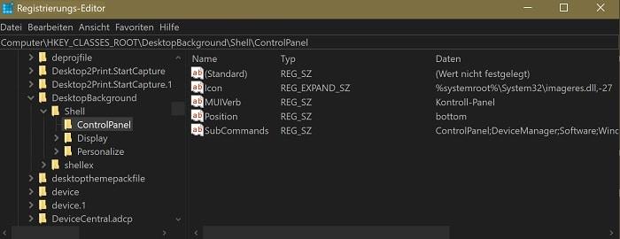 windows 10 kontroll panel kontext menue erstellen anpassen