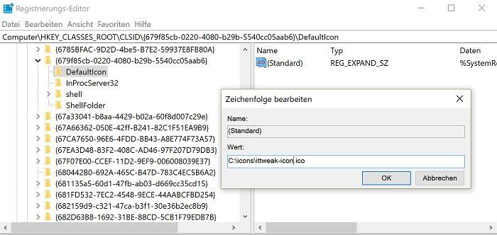 windows 10 schnellzugriff symbol anpassen ändern registry