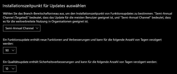 windows 10 update aussetzen zurückstellen einstellen verhindern