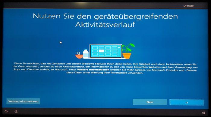 windows 10 1903 installation setup änderungen aktivitätsverlauf