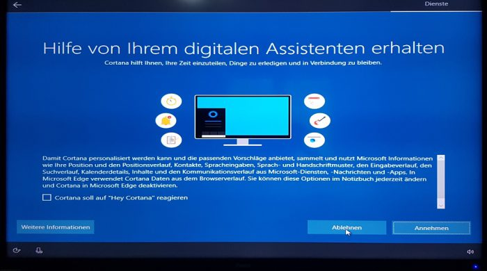 windows 10 1903 installation setup änderungen cortana