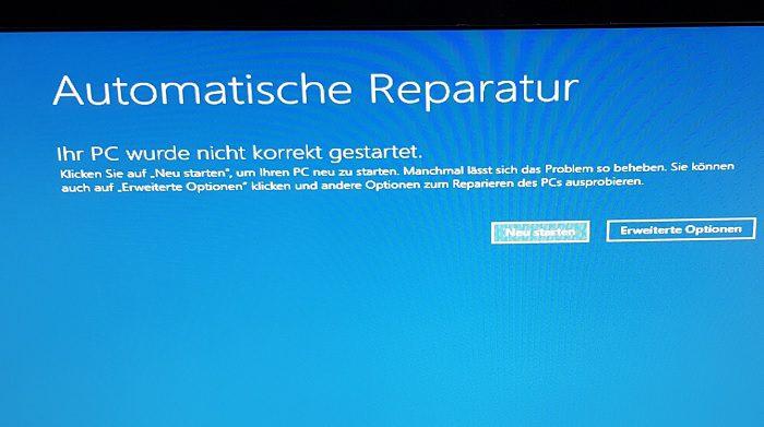 windows 10 boot fehler meldung inaccessible boot device beheben reparieren