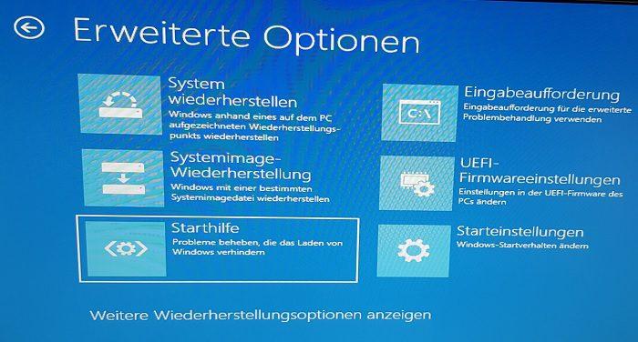 windows 10 boot fehler meldung beheben reparieren starthilfe