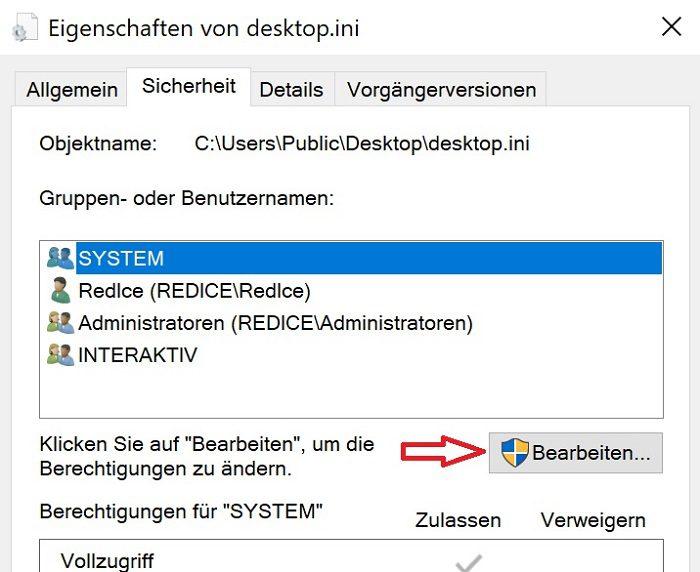 windows 10 eigenschaften sicherheit bearbeiten