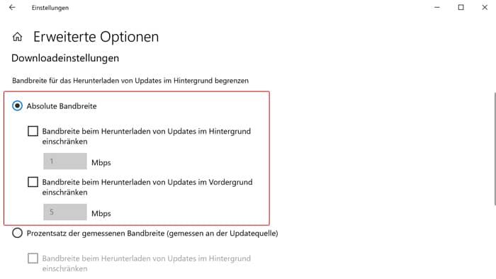 Download Geschwindigkeit bei Updates Windows 10