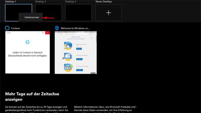 Virtueller Desktop umbenennen