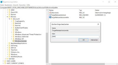 windows 10 funktionsupdate aussetzen stoppen verhindern version 2004 registry hack
