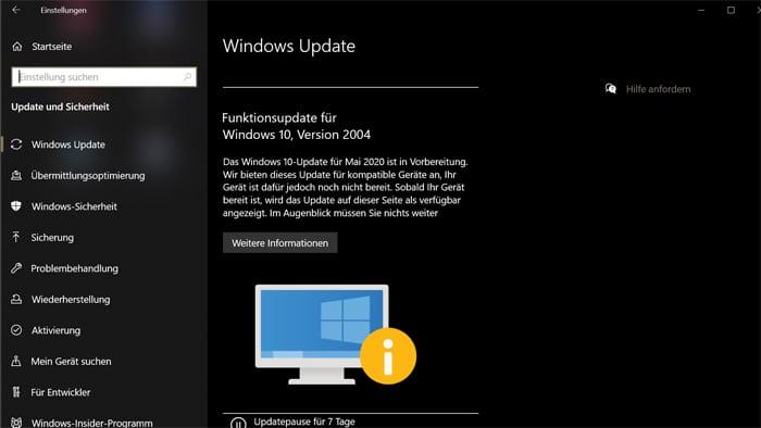 windows 10 update benachrichtigung noch nicht bereit fuer ihr system Funktionsupdates