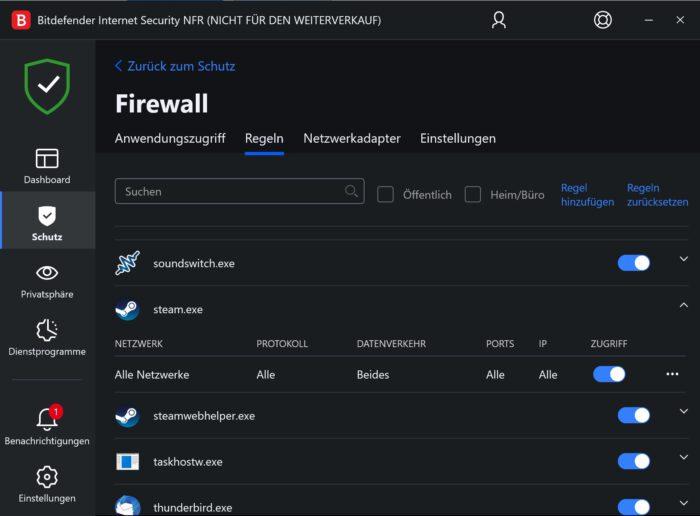 Bitdefender Internet Security Firewall Regeln