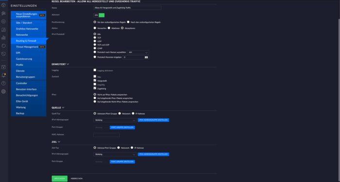 firewall-regeln erstellen unifi os dream machine pro usg