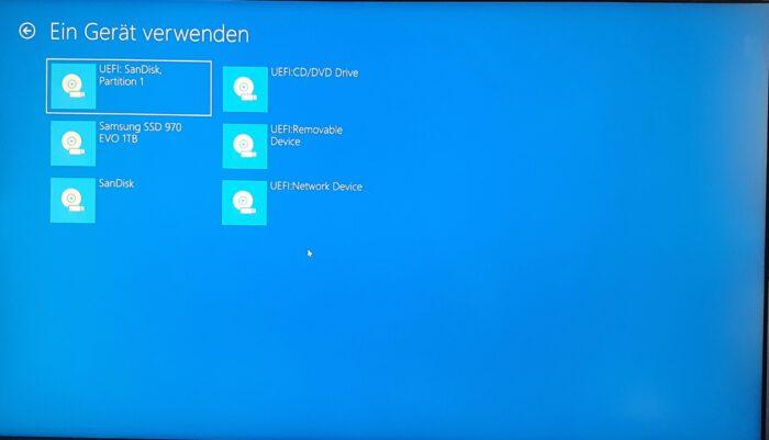 bootmenü windows 10 boot von dvd usb-stick