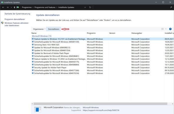 windows 10 fehlerhafte updates deinstallieren problembehandlung updateverlauf