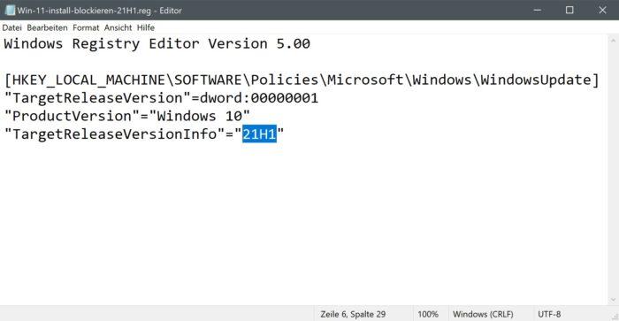 reg-datei windows 11 installation blockieren
