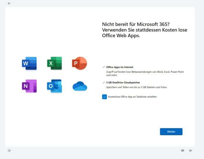 Office 365 in Windows 11 kostenlos OneDrive 5GB Speicherplatz