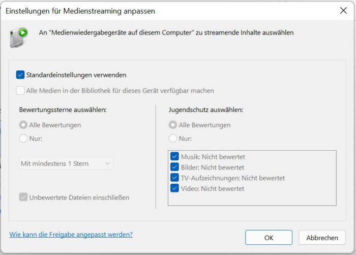 stream im netzwerk windows 11 dateien dlna stream server