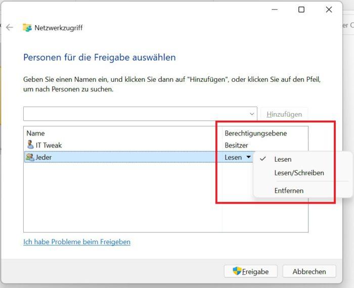 ordner freigeben netzwerk windows 11